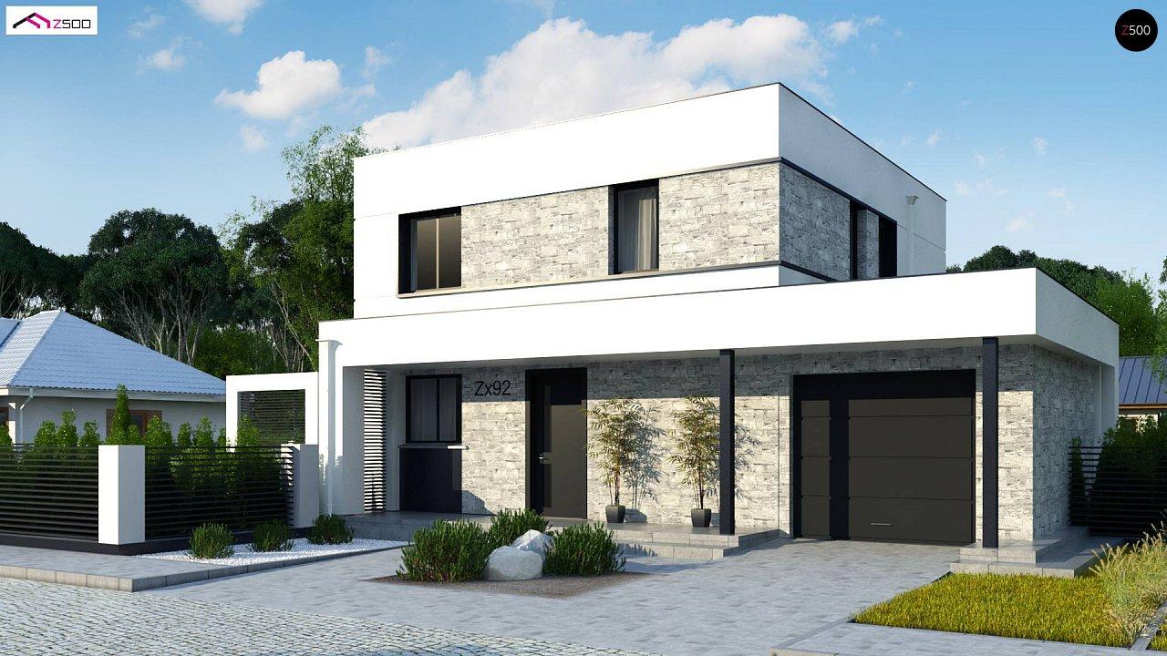Проект двухэтажного дома с дополнительной комнатой на первом этаже и гаражом на один автомобиль. 2
