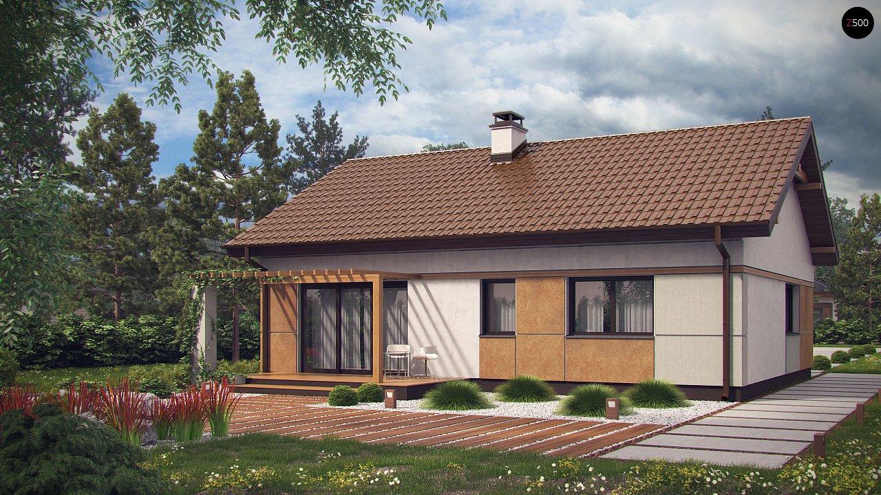 Компактный, уютный одноэтажный дом с двускатной крышей. 3