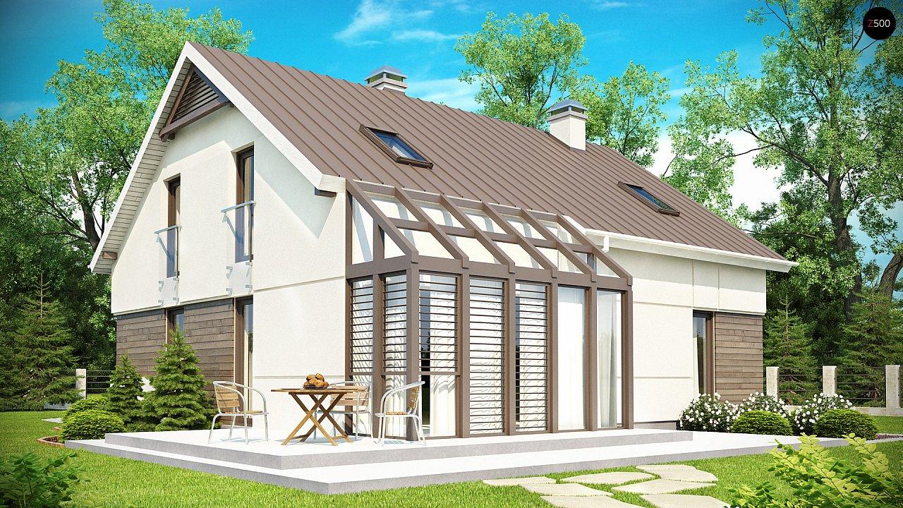Проект дома с мансардой, с дополнительной спальней на первом этаже и с застекленной террасой. 2