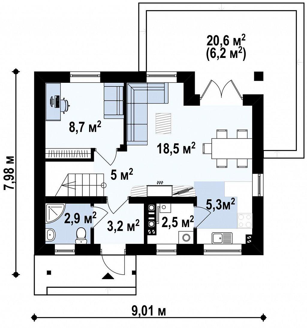 Аккуратный стильный дом с дополнительной спальней на первом этаже. план помещений 1