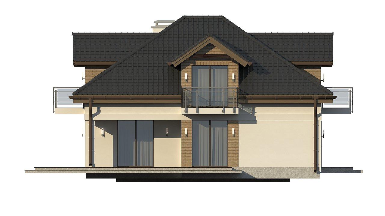 Проект дома с мансардой, с кабинетом на первом этаже и гаражом. 23