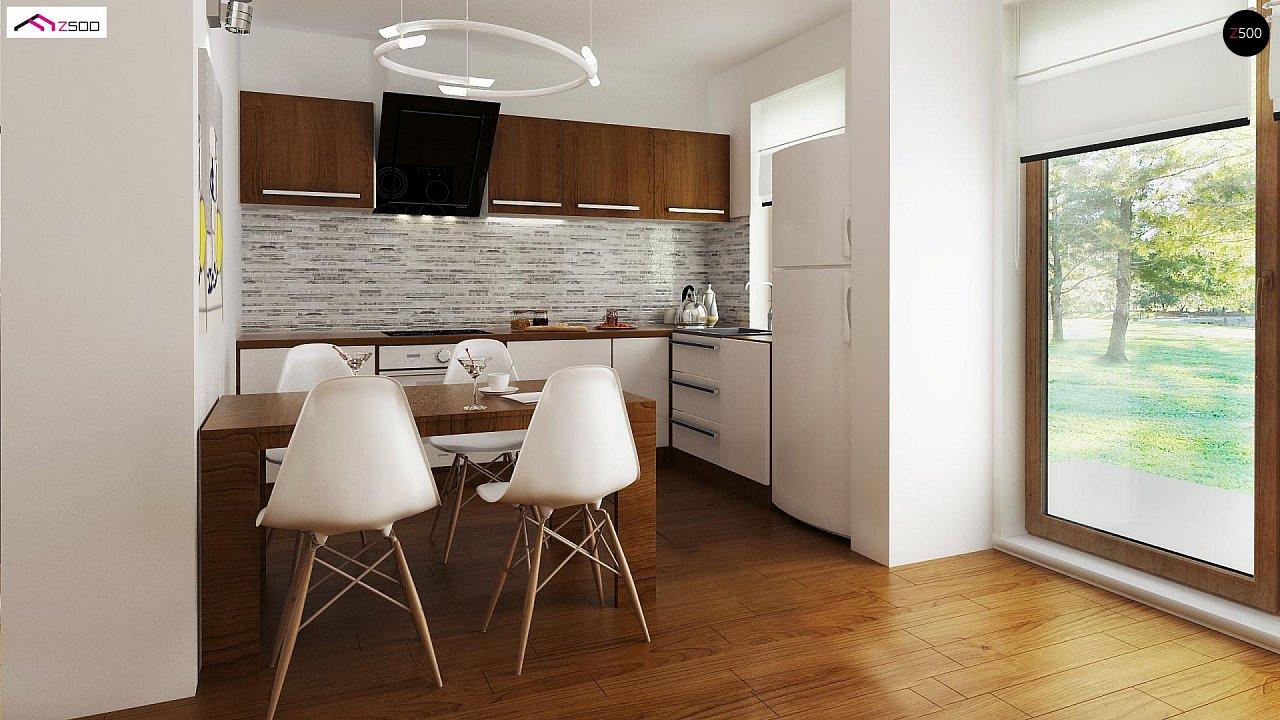 Выгодный в строительстве и эксплуатации маленький одноэтажный дом с крытой террасой. 4