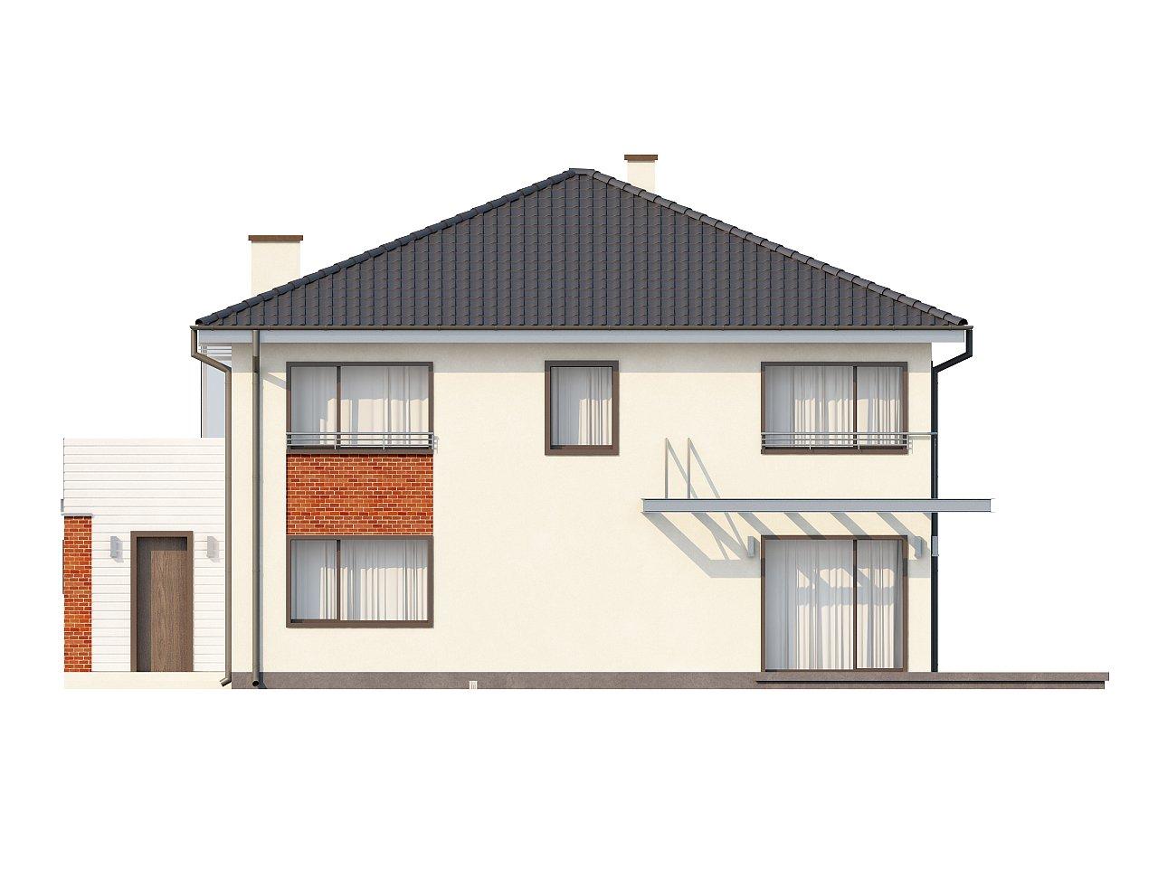 Комфортабельный двухэтажный дом простой формы со стеклянным эркером над гаражом. - фото 5