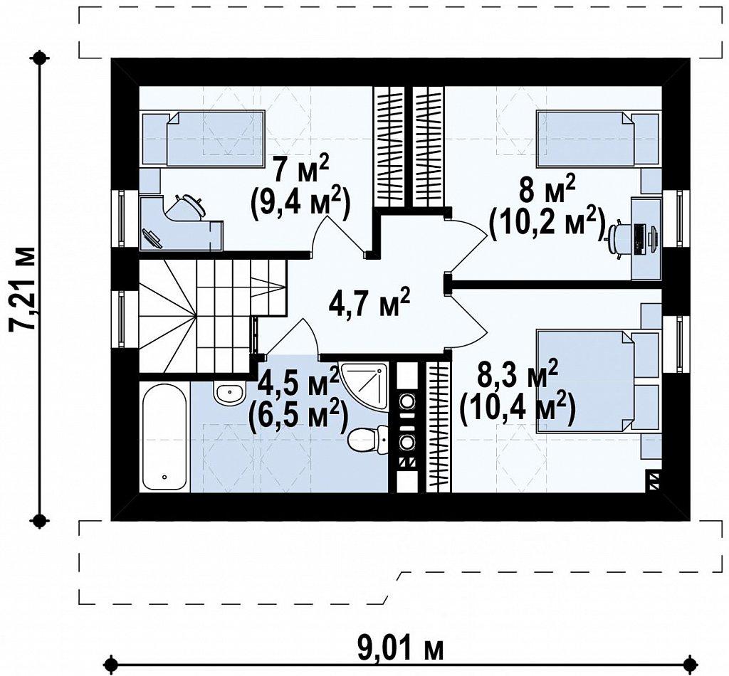 Аккуратный стильный дом с дополнительной спальней на первом этаже. план помещений 2