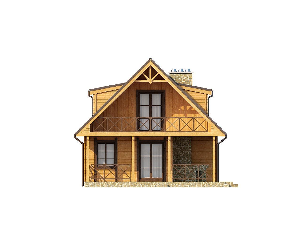 Компактный дом с мансардой, с крытой террасой и внешним камином. 13