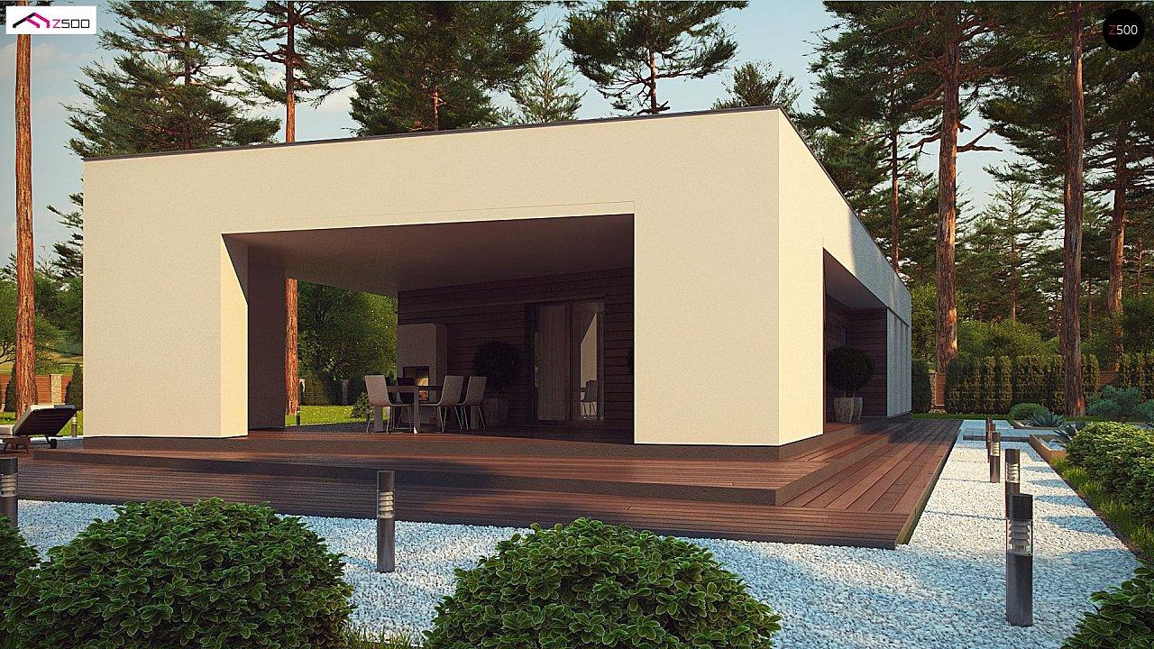 Современный одноэтажный дом с боковой террасой 4