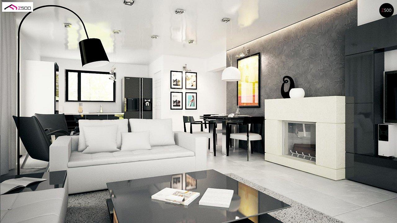 Проект комфортного одноэтажного дома с оригинальными фасадными окнами на чердаке. 13