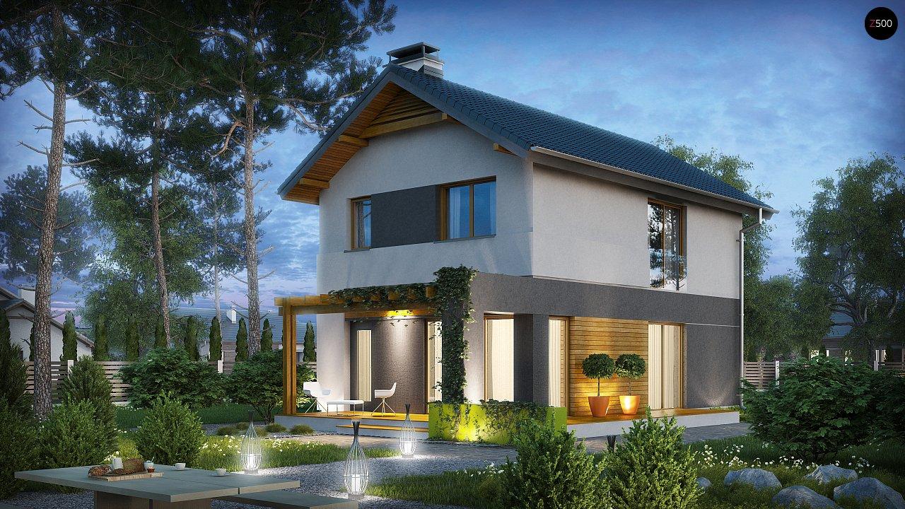 Небольшой двухэтажный дом с современными архитектурными элементами, подходящий для узкого участка. - фото 1