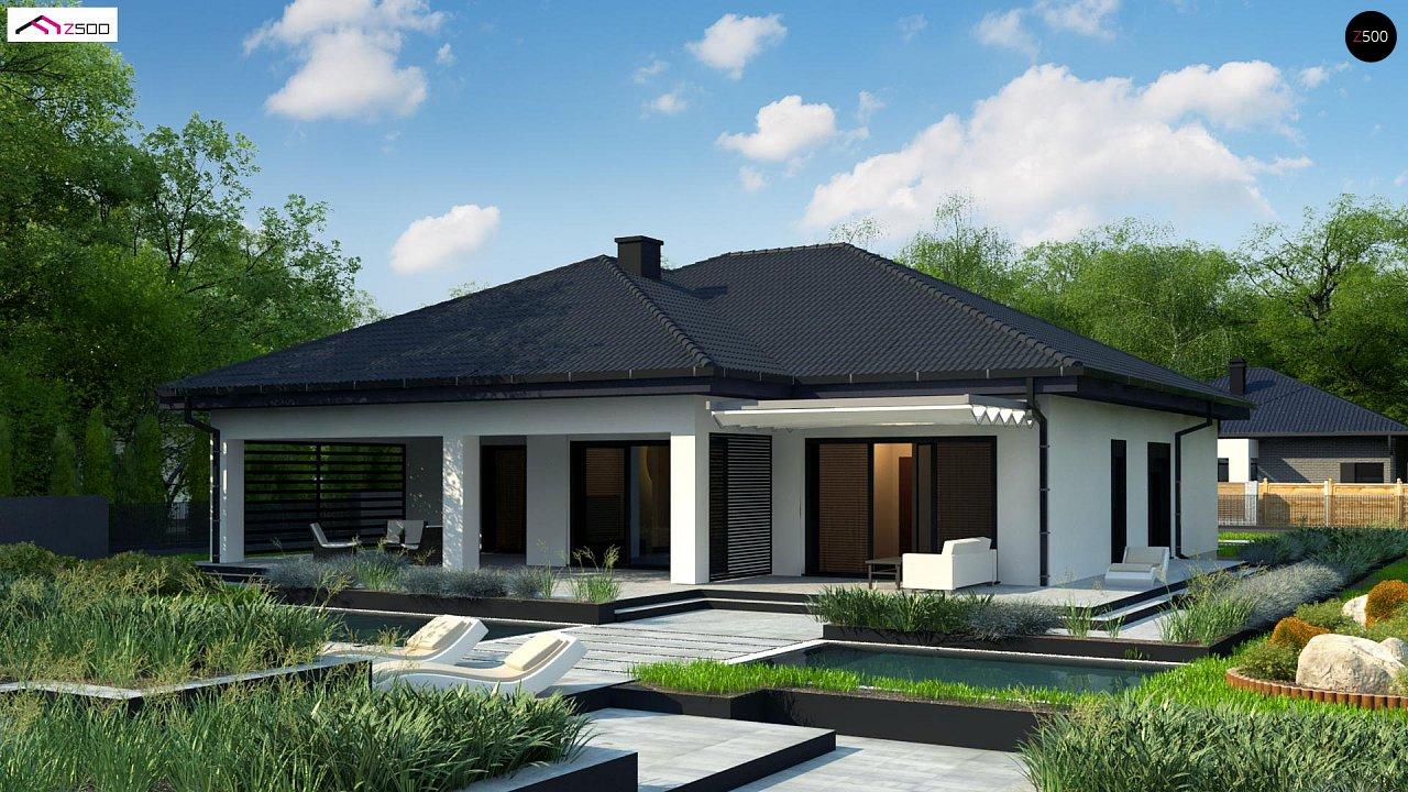 Одноэтажный дом с просторной гостиной и открытой кухней 1
