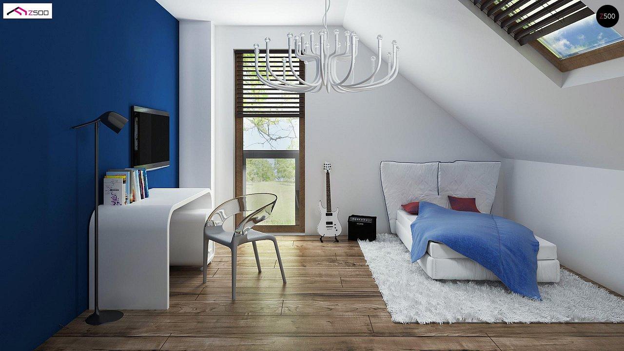 Проект удобного и красивого мансардного дома с гаражом на 2 машини и 3 спальнями. 12