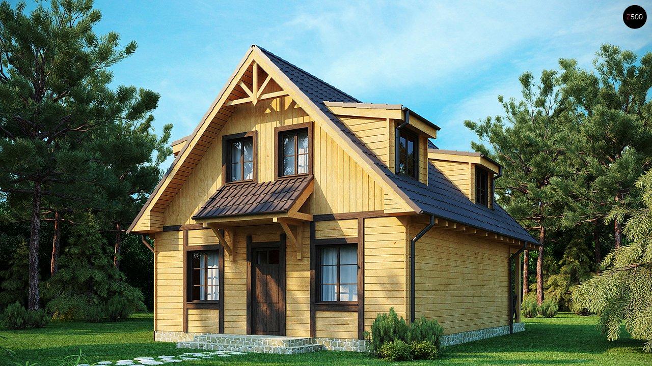 Компактный дом с мансардой, с крытой террасой и внешним камином. 2