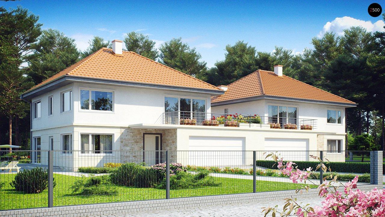 Проект просторного двухэтажного дома для симметричной застройки с террасой над гаражом. 1