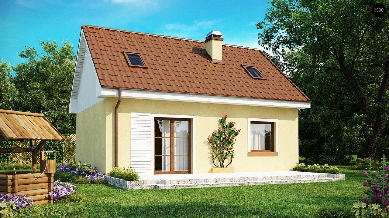 Компактный традиционный дом простой формы с двускатной крышей. 2