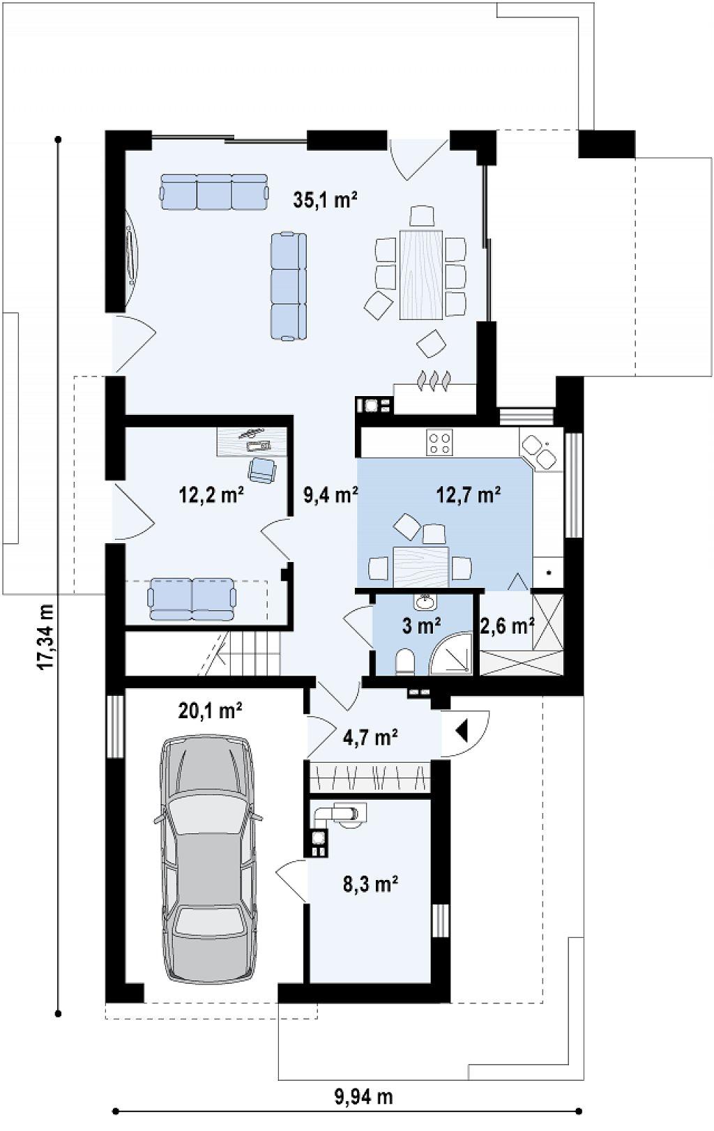 Дом характерного современного дизайна с гаражом и кабинетом на первом этаже. план помещений 1