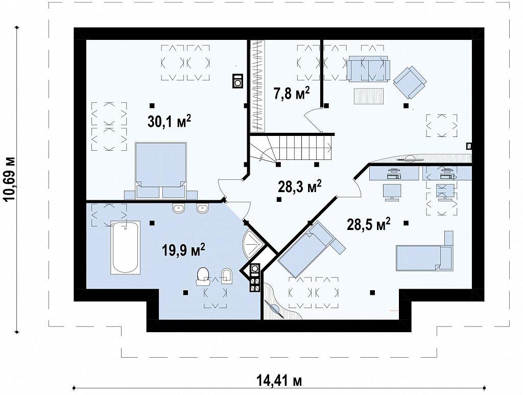 Просторный комфортабельный дом с необычной планировкой второго этажа. план помещений 2