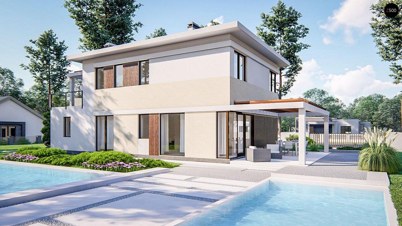 Современный двухэтажный проект дома с навесом - фото 3