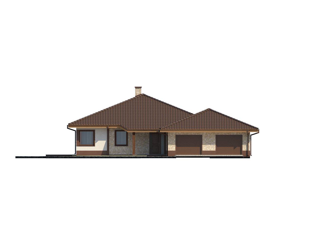 Комфортабельный одноэтажный дом для продольного участка с большим гаражом, с возможностью обустройства мансарды. 3