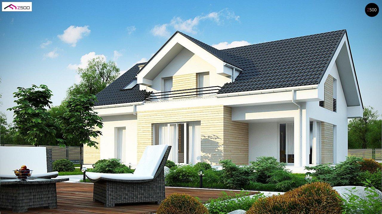 Проект мансардного дома в европейском стиле с балконом. - фото 3
