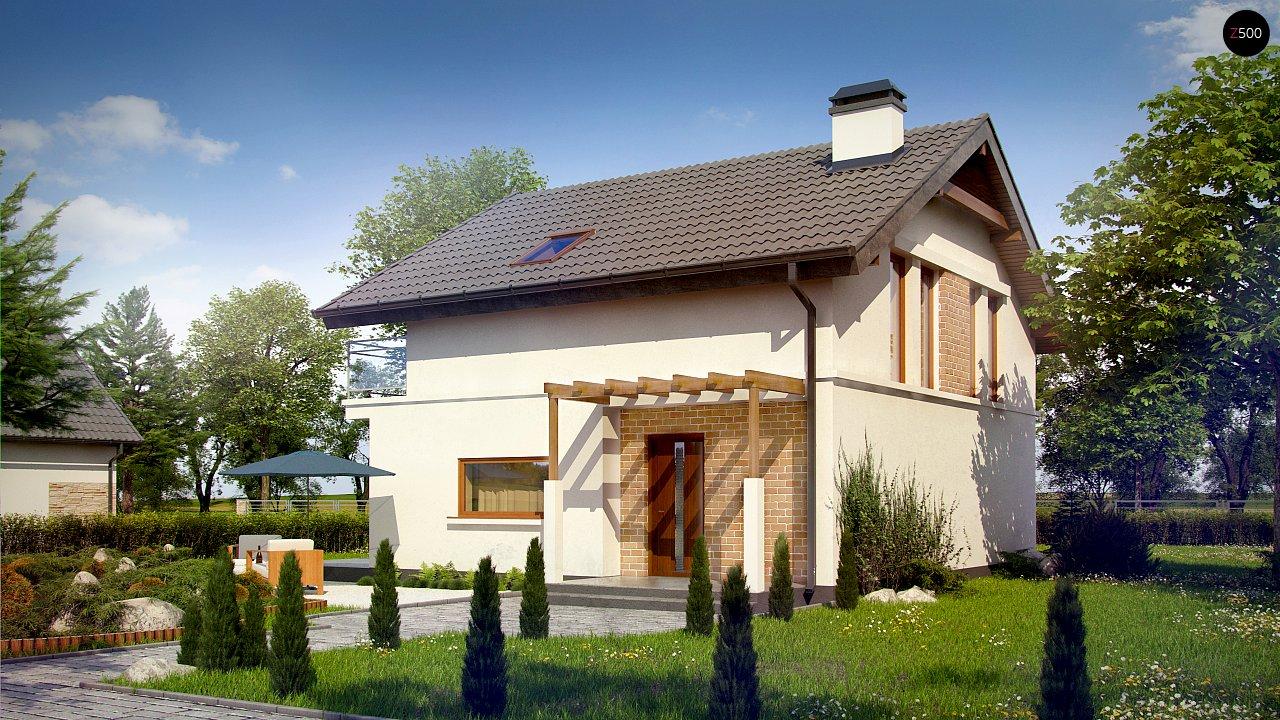 Проект дома с мансардой, с высокой аттиковой стеной, с дополнительной комнатой на первом этаже. 5