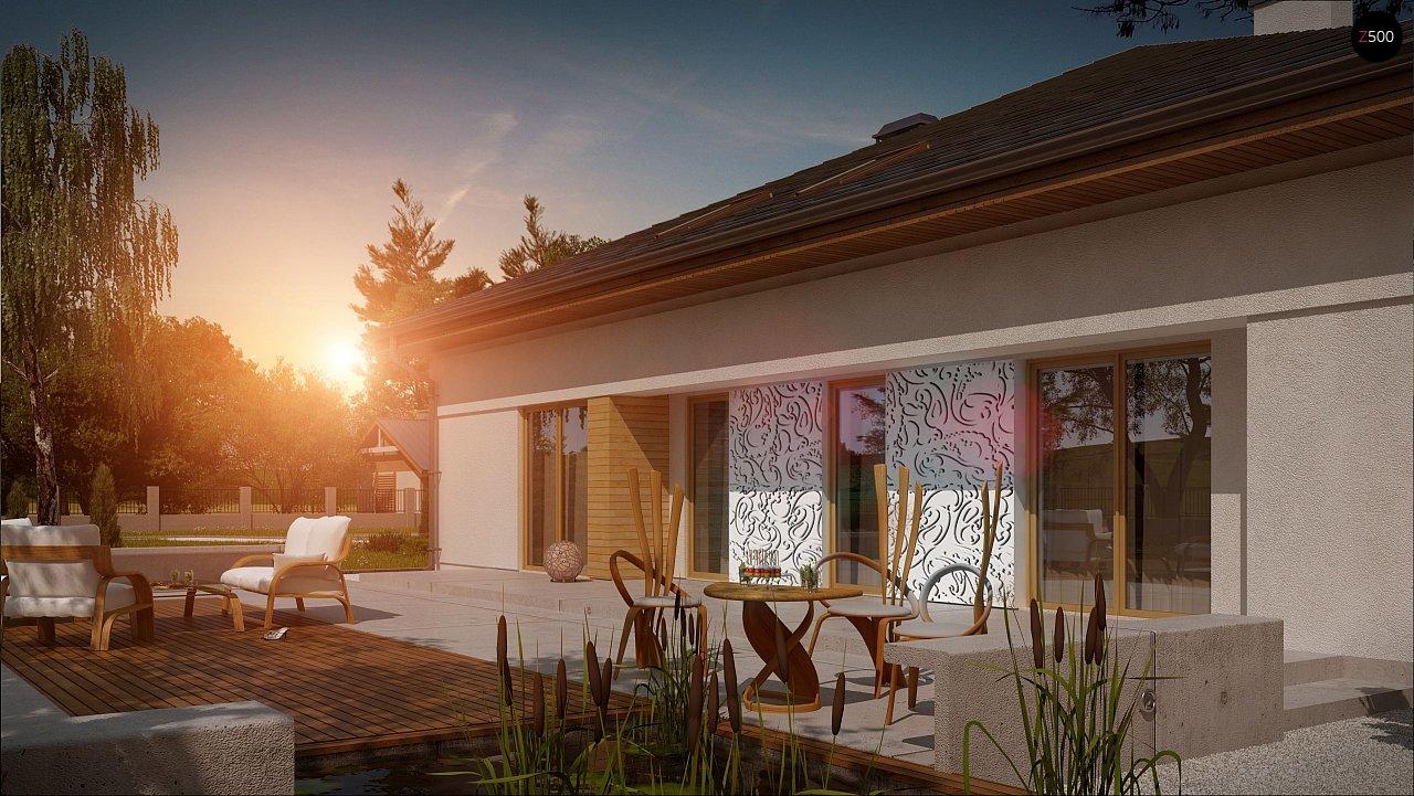 Проект просторного дома с многоскатной крышей. 3