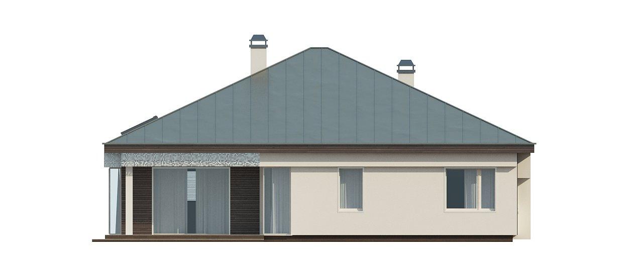 Удобный одноэтажный дом с гаражом для двух автомобилей, с большой площадью остекления в дневной зоне. 32