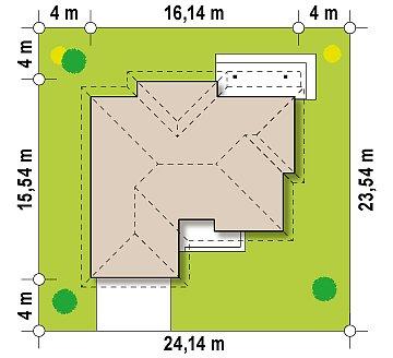 Стильный одноэтажный дом с гаражом для двух автомобилей. план помещений 1