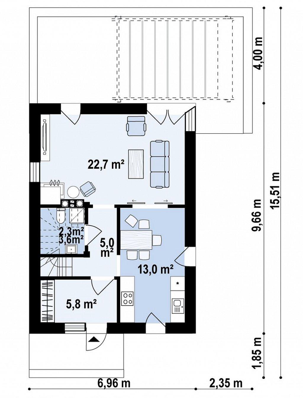 Современный проект дома с 3 спальнями план помещений 1