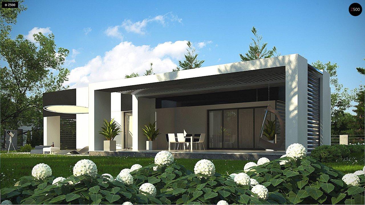Проект современного одноэтажного дома с черно-белыми фасадами и открытым гаражом на 2 машины 5