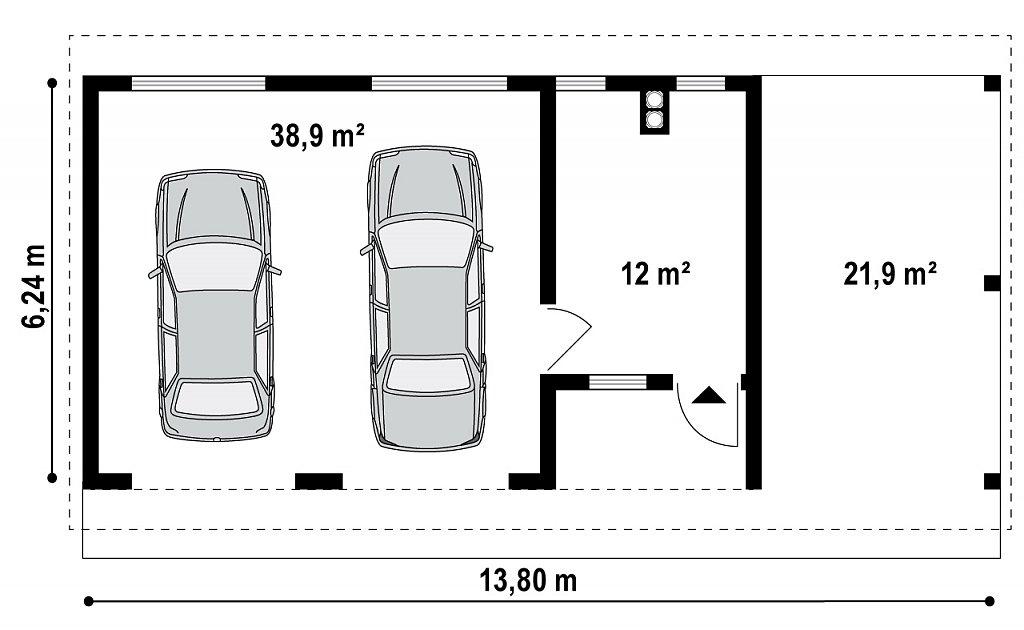 Гараж на 2 машины с двухскатной крышей, навесом и подсобным помещением 12 м2. план помещений 1