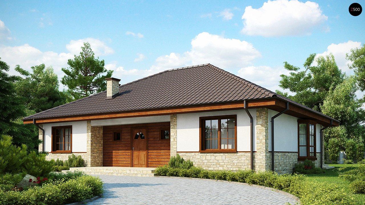 Одноэтажный дом с многоскатной кровлей, эркером и камином на террасе. - фото 2