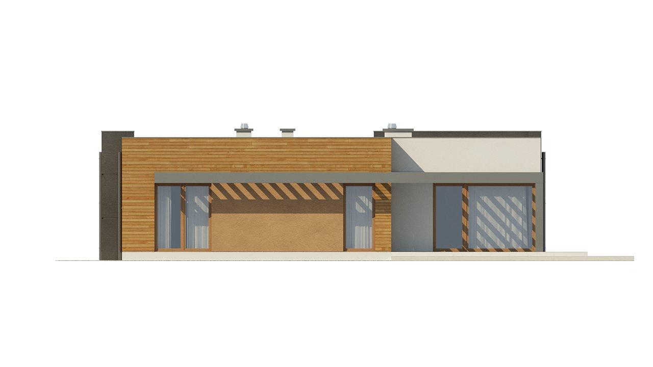 Одноэтажный дом модернистского характера с гаражом для двух автомобилей. 23