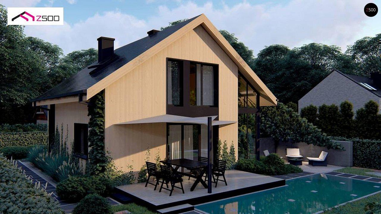 Проект просторного мансардного дома с панорамным остеклением. - фото 3