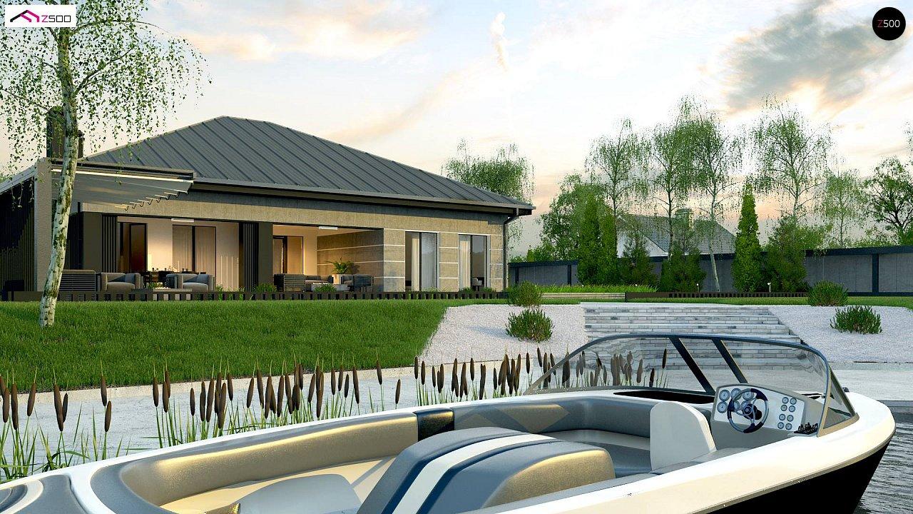 Проект дома с одноуровневой оригинальной планировкой и современным экстерьером. 6