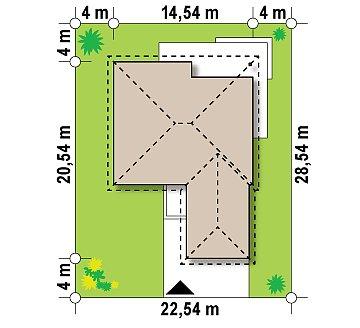 Проект одноэтажного дома с многоскатной кровлей, с фронтальным гаражом. план помещений 1