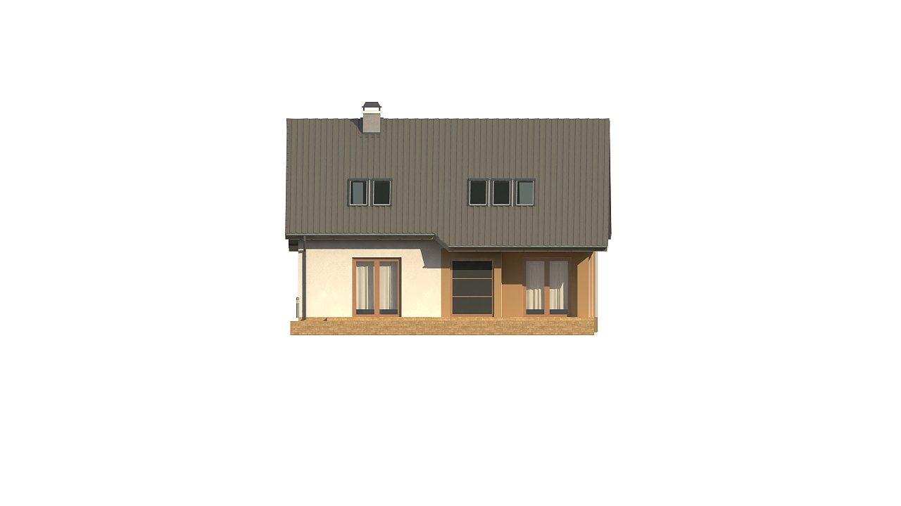 Дом с мансардой с двускатной крышей и комнатой на первом этаже 22
