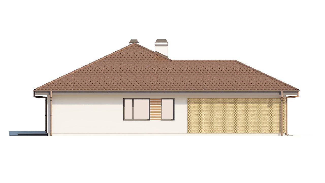 Проект удобного одноэтажного дома с гаражом для двух автомобилей и большим хозяйственным помещением. 24