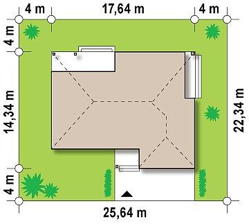 Проект практичного одноэтажного дома с фронтальным выступающим гаражом и крытой террасой. план помещений 1