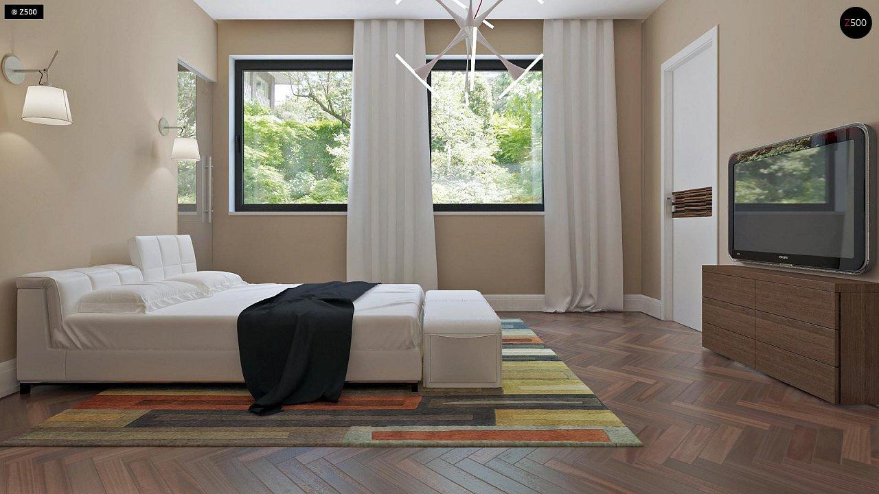 Аккуратный дом простой традиционной формы с гаражом и дополнительной спальней на первом этаже. 12