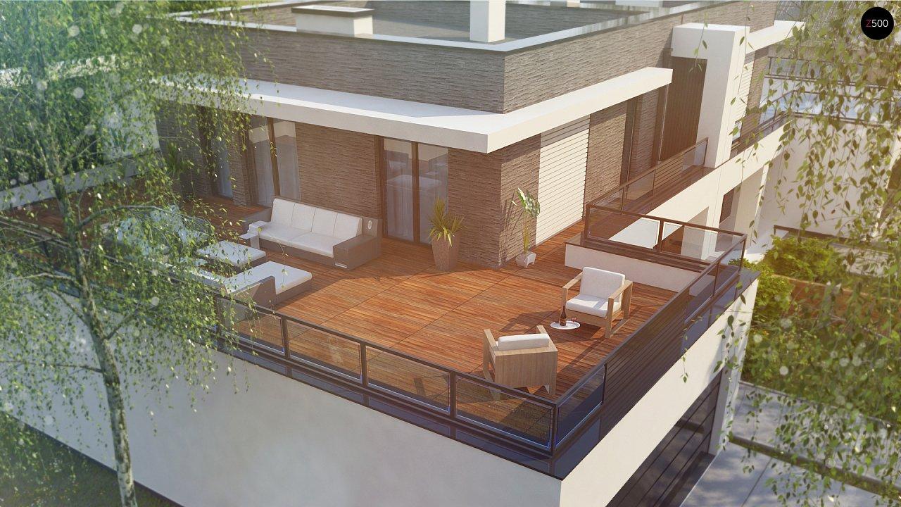 Современный проект домов-близнецов с большим гаражом и террасой на втором этаже. 8