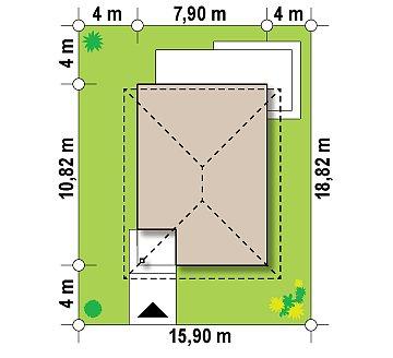Проект компактного двухэтажного дома строгого современного стиля. план помещений 1
