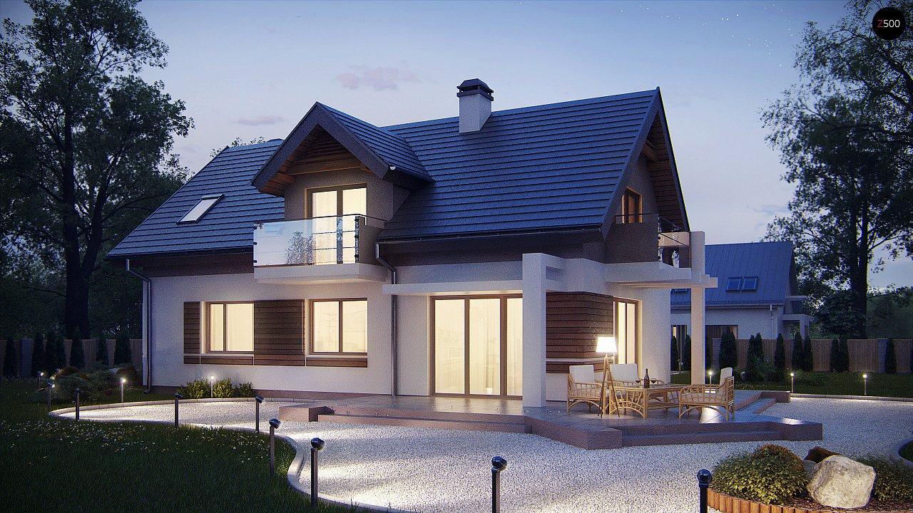 Проект функционального уютного дома с мансардными окнами и оригинальной отделкой фасадов. 5