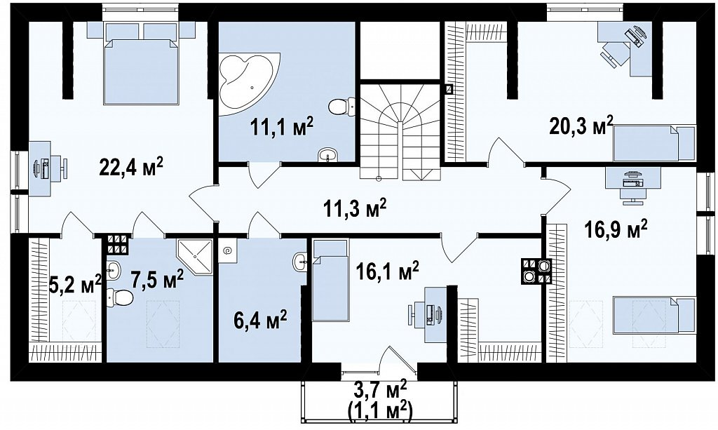 Практичный двухквартирный дом с общими входом и техническим помещением. план помещений 2