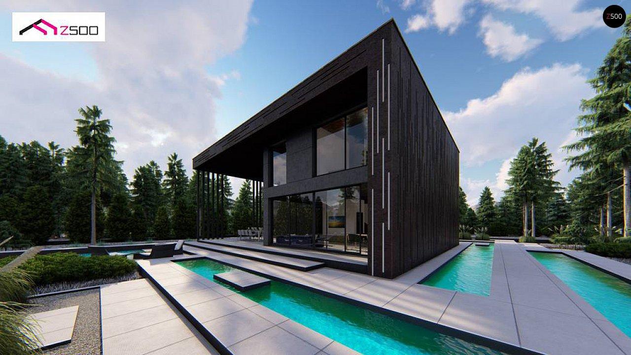 Современный двухэтажный дом с плоской кровлей и навесом для автомобиля - фото 3