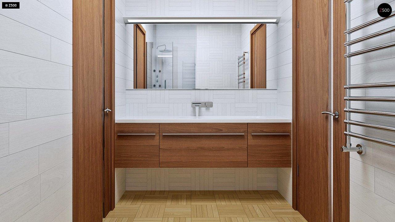 Аккуратный одноэтажный дом с деревянной облицовкой фасадов, адаптированный для каркасной технологии. 9