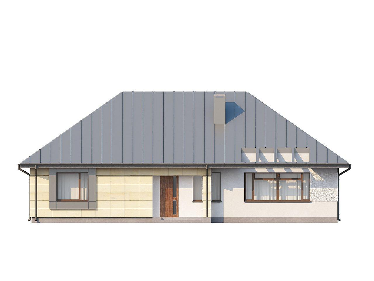 Одноэтажный дом с возможностью обустройства чердачного помещения, оптимальный для южного въезда на участок. 13