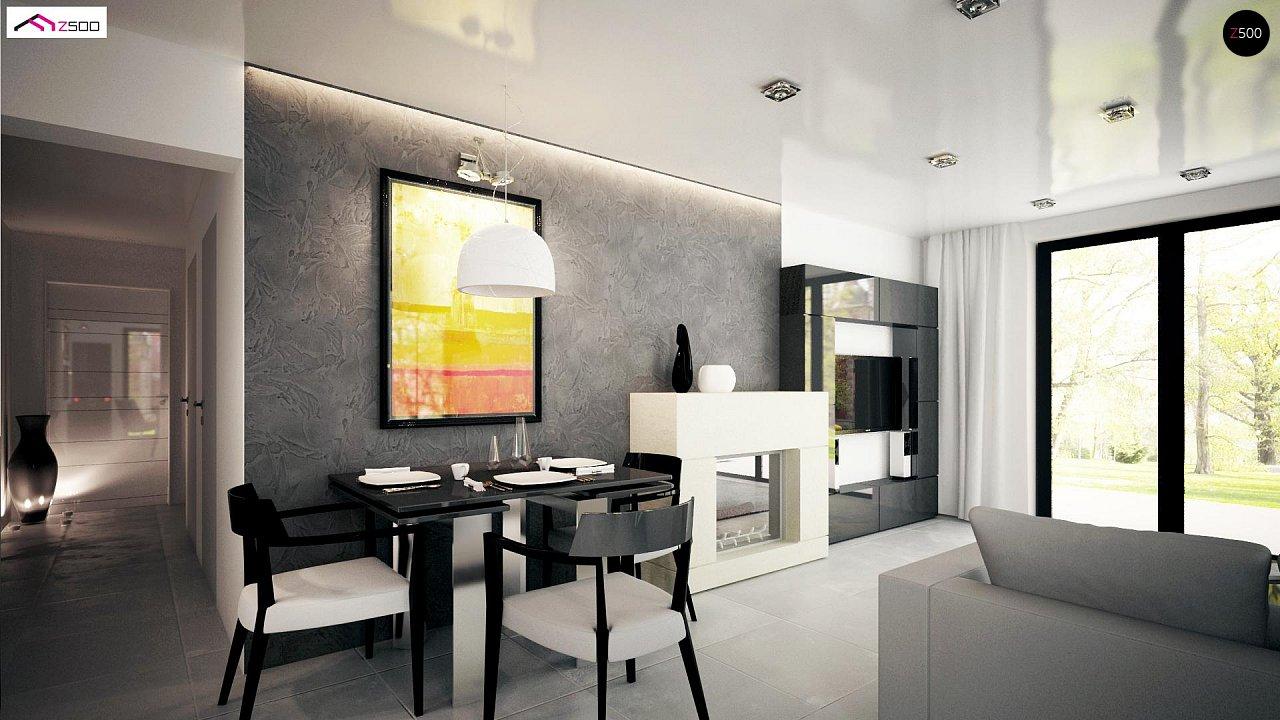 Проект комфортного одноэтажного дома с оригинальными фасадными окнами на чердаке. 12