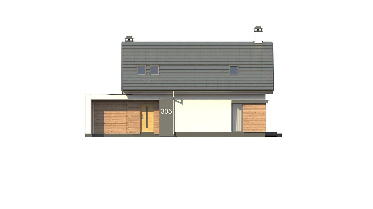 Дом с мансардой с гаражом с левой стороны для одной машины. 7