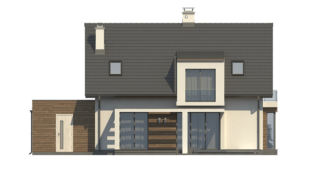 Стильный дом с оригинальными мансардными окнами, с гаражом и кабинетом на первом этаже. - фото 4