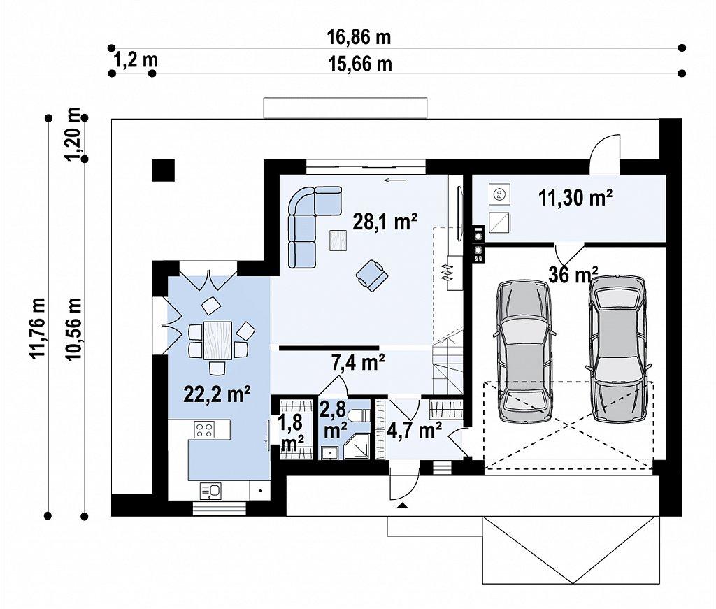 Cовременный двухэтажный дом с плоской крышей и гаражом на две машины. план помещений 1