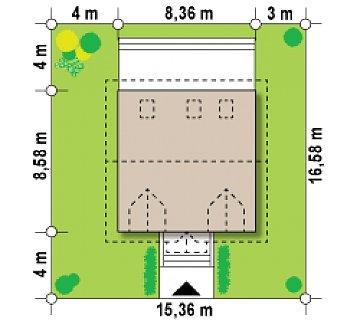 Компактный дом в традиционном стиле с двускатной крышей и красивыми мансардными окнами. план помещений 1